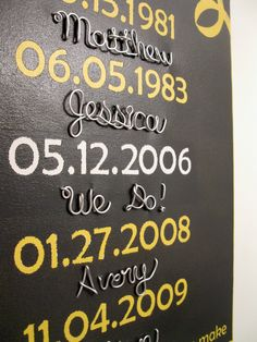 What a Difference a Day Makes 16x20 - Wire Names Canvas Painted Important Family Dates Sign Art, Grey Yellow Gift by MySuspendedMoments on Etsy https://www.etsy.com/listing/115949346/what-a-difference-a-day-makes-16x20-wire