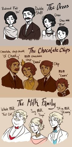 "Cookies and Crime okie dokie this is really close to my idea of the families. the Orea family includes Donald Stephen Orea, Ori Fiona Orea, Oleta Rubie Orea, and Milton  Lee Orea. The Chelate family includes Charles Chester Chelate, Martha Marjorie Chelate, Chip Eugene Chelate, and Emyle Andrew Chelate. the Mikales include William Glenn Mikale, Soya Vera Mikale, Sylvester ""Syl"" Ronald Mikale, and Nina Brandi Mikale"
