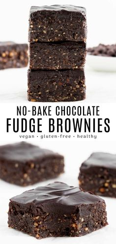 No Bake Vegan Brownies The BEST no bake brownies! These easy and healthy raw vegan brownies will be your new favorite dessert. Enjoy a fudgy, chewy square topped with chocolate ganache. Made with dates, walnuts, almonds, and cacao powder. Raw Vegan Brownies, Chocolate Fudge Brownies, Raw Vegan Desserts, No Bake Brownies, Vegan Dessert Recipes, Vegan Sweets, Healthy Sweets, No Bake Desserts, Chocolate Frosting