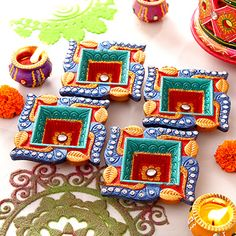 Gorgeous Swastik Shaped Clay Diyas