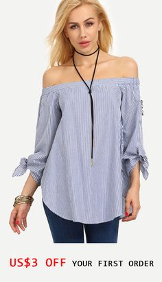 Shop Blue Striped Off The Shoulder Bow Cuff Blouse online. SheIn offers Blue Striped Off The Shoulder Bow Cuff Blouse & more to fit your fashionable needs. Shoulder Knots, Cold Shoulder, Fashion 2017, Fashion Outfits, Frill Tops, Blue Blouse, Ladies Dress Design, Autumn Winter Fashion, Blouses For Women