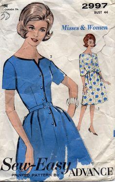 Advance 2997 1960s  Misses Shirtwaist Dress Pattern Neckline Interest  Womens Vintage Sewing Pattern  Bust 44