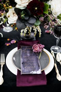 Jewel-Toned Halloween Wedding Inspiration Shoot Create a romantically spooky feel for your Halloween-inspired wedding with a black and deep purple color palette. Pops of gold on the menu lettering and silverware provide a sophisticated metallic accent. Wedding Table, Fall Wedding, Wedding Ceremony, Dream Wedding, Black Tablecloth Wedding, Wedding Venues, Wedding Week, October Wedding, Chic Wedding