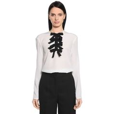 Rochas Women Silk Crepe De Chine Blouse W/ Bows ($760) ❤ liked on Polyvore featuring tops, blouses, white, silk crepe de chine blouse, bow blouse, keyhole blouse, white long sleeve top and white blouse