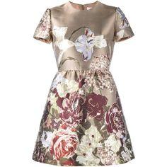 Valentino 'Kimono 1997' jacquard dress (636250 RSD) ❤ liked on Polyvore featuring dresses, brown, round neck short sleeve dress, metallic dress, short-sleeve dresses, jacquard dress and back zipper dress