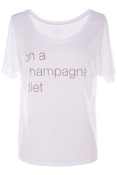 Nobody can argue with being on a champagne diet! Lightweight fabric and so soft. $48 #bevello