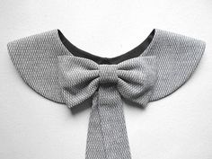Casual Gray Collar Necklace / Black and White Handmade Peter Pan Collar with Detachable Bow Brooch by BlumArt