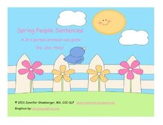 FREEBIE Spring People Sentences: 3rd person pronouns - Jennifer Shamberger - TeachersPayTeachers.com