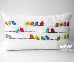 Sukan / Color Birds White Linen Pillow Cover - 14x14. $70.00, via Etsy.