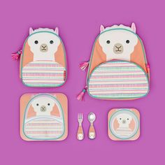Set the table! Plates, bowls, utensils and more match up with our adorable llama backpacks and lunchies. Get yours via the link in our bio. Mochila Skip Hop, Baby Model, Baby Doll Toys, Cute Baby Clothes, Apple Watch Bands, School Bags, Hand Lettering, Cute Babies, Activities For Kids
