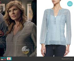 Rayna's blue printed blouse on Nashville.  Outfit Details: http://wornontv.net/48702/ #Nashville