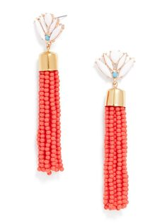 """Electric fringe lends bold movement to the lobes, with a glossy gem embellishment for fun contrast. Earring is lightweight with a length: 3.6""""."""