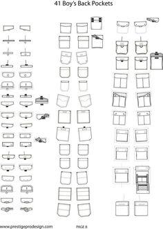 BOYS BACK POCKETS Fashion Design Template, Fashion Design Sketches, Fashion Templates, Flat Drawings, Flat Sketches, Sewing Pockets, Fashion Vocabulary, Pocket Pattern, Pattern Drafting