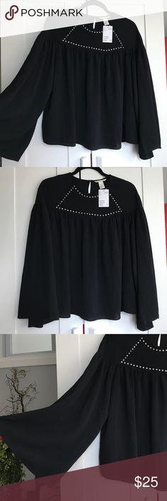 Selling this Brand New H&M Flowy Black Blouse on Poshmark! My username is: nhamaker. #shopmycloset #poshmark #fashion #shopping #style #forsale #H&M #Tops