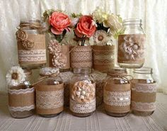 rustic burlap and lace covered mason jar vases wedding d .- rustic burlap and lace covered mason jar vases wedding decoration. 10 x rustic burlap and lace covered mason jar vases, wedding decor, bridal shower, engagement, anniversary party decor - Burlap Mason Jars, Mason Jar Vases, Mason Jar Crafts, Pot Mason, Glass Jars, Shabby Chic Baby Shower, Baby Boy Shower, Baby Showers, Bridal Showers