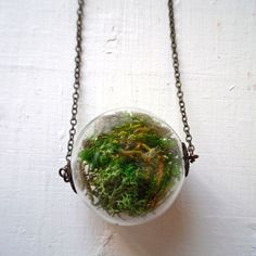 Moss Terrarium Necklace green, jewelry, necklaces