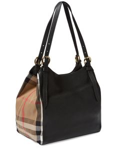 Small Canter Leather & House Check Tote by Burberry at Gilt