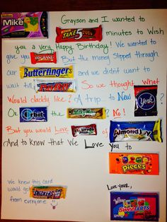 birthday card poem made from candy perfect for a candy lover pairs well with gift cards for the movie theater this was a gift to my husband