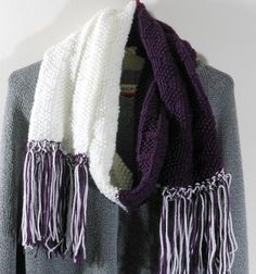 Knitted Purple and White Scarf