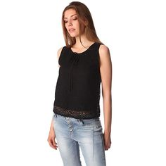 Black crochet lace top with contrast tie detail