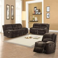 Cadell Plush Dual Reclining Sofa Set by Homelegance. $1899.99. Microfiber upholstery in chocolate brown. Set includes recline, loveseat, and sofa. Overstuffed seating, arms, and back for comfortable seating. Reclining mechanisms extend to provide the ultimate comfort. Constructed of engineered wood and pine wood. The Cadell Plush Dual Reclining Sofa Set has a cozy seat for everyone in the house - and maybe even then some. Each piece of this complete seating set - a ...