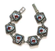 Red Floral Porcelain Enameled Bracelet Russian Finift Enamel Silver Filigree Vintage #russian #bracelet