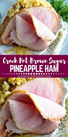 Looking for easy crockpot recipes you can try on Thanksgiving? Try this Crock Pot Brown Sugar Pineapple Ham. It's a Savory Ham with a Brown Sugar Glaze and Pineapple Slow Cooked. It's also the best weekend dinner idea you can make for the whole family. Best Crockpot Recipes, Pork Recipes, Slow Cooker Recipes, Cooking Recipes, Crockpot Ideas, Drink Recipes, Cooking Tips, Thanksgiving Recipes, Holiday Recipes
