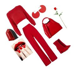"""""""love red"""" by mersyha ❤ liked on Polyvore featuring River Island, Michael Lo Sordo, Maison Margiela, Isabel Marant, Bobbi Brown Cosmetics and Lanvin"""