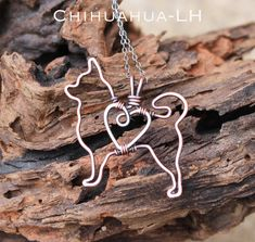 Chihuahua Necklace Copper Dog Dog Outline от Karismabykarajewelry