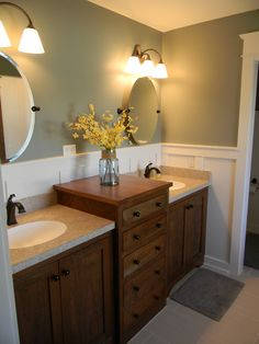 gray master bath paneling double sink vanity cherry