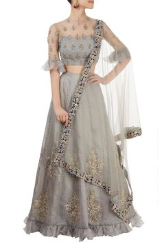 Shop Reeti Arneja - Grey lehenga set with embroidery Latest Collection Available at Aza Fashions Choli Designs, Sari Blouse Designs, Latest Lehnga Designs, Red Lehenga, Lehenga Choli, Lehenga Blouse, Anarkali, Indian Wedding Outfits, Indian Outfits