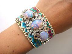 Bohemian hippie cuff bracelet - rhinestone friendship bracelet with vintage Husar D chrystal bracelet. €135.00, via Etsy.