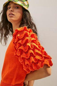 Stella Pardo Greta Ruffled Sweater Tee | Anthropologie Knit Crochet, Crochet Hats, Crochet Ideas, Anthropologie Uk, Chanel, Crochet Fashion, Ruffle Sleeve, Crochet Clothes, Knitwear
