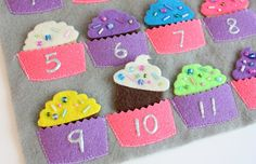 Cute little number matching activity that you can  make with felt, beads and puff paint. You could even place the cupcakes on a little dollar store cupcake pan at the start of the activity.