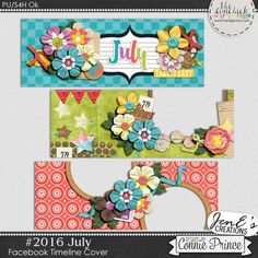 #2016 July - Facebook Timeline Covers by JenE to coordinate with #2016 July by Connie Prince. Includes 3 Facebook timeline covers, saved in PNG format. Shadows ARE included. These images are only suitable for web use, not print. Scrap for hire / others ok.