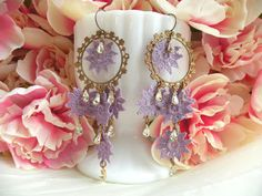 spring assemblage earrings repurpose lilac doily by lilyofthevally