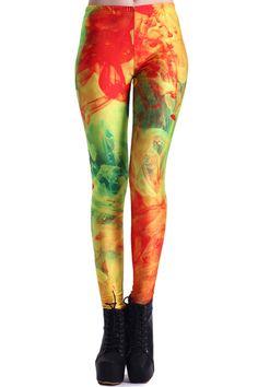 ROMWE Color Mix Print Floral Leggings
