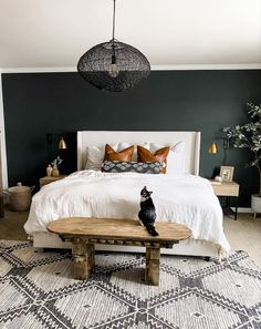 This Wrought Iron accent wall color got me so inspired I've started painting it on everything 😂 currently finishing the doors in our… Master Bedroom Makeover, Bedroom Inspo, Home Bedroom, Bedroom Decor, Accent Wall Colors, Accent Wall Bedroom, Bedrooms With Accent Walls, Home Living, My New Room