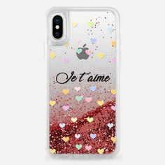 Casetify iPhone X Liquid Glitter Case - Love you Je t'aime case by Priyanka Chanda