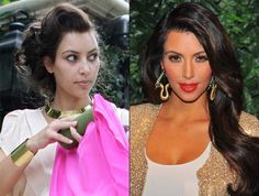 kim kardashian looks less plastic without (or with less?) makeup!