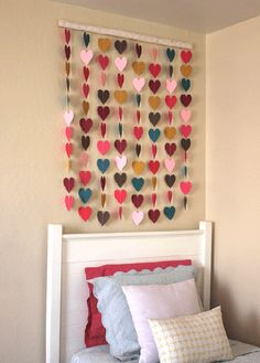 DIY Teen Room Decor, crafts for teenagers. Use paint samples and a heart shape hole puncher