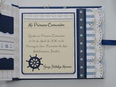 Hola!   Hoy quiero compartir otro libro de firmas que hice para comunión de niño con papeles de Dayka y cartulinas azul almirante.  Para la... Mini Scrapbook Albums, First Communion, Mini Books, Silhouette Cameo, Stamp, Invitations, Gifts, Ideas, Memory Books