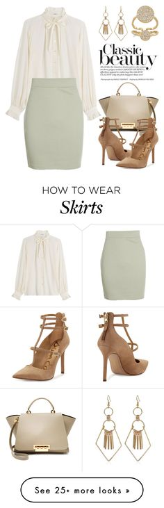 """Skirt Pastel Style 3026"" by boxthoughts on Polyvore featuring Closed, Boohoo, ZAC Zac Posen and Sam Edelman"