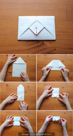 letter note – a grouped images picture – Origami Paper Crafts Origami, Origami Paper, Diy Paper, Paper Crafting, Origami Letter, Oragami, Cute Crafts, Diy And Crafts, Letter Folding