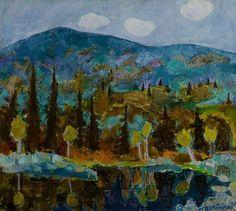 """huariqueje: """" Arctic hills - Reidar Sarestoniemi , 1958 Finnish, oil on x cm """" Nordic Art, European Paintings, Mountain Art, Landscape Paintings, Landscapes, Figure Painting, Finland, Oil On Canvas, Auction"""