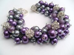 Bridesmaid Jewelry, Purple and Silver Gray with Rhinestones, Pearl Beaded Bracelet, Cluster Bracelet, Pearl Bracelet, Bridesmaid Gift