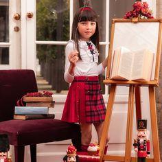 Patachou - Girls Pleated Red Tartan Skirt | Childrensalon Red Tartan Skirt, Skirts For Kids, White Jersey, Red Skirts, Kids Online, Kids Fashion, Fall Fashion, Grosgrain, Topshop