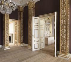 Historical panel door at the Danish Royal castle Amalienborg.
