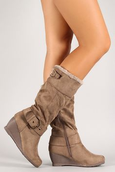 Knee High Wedge Boots, Flat Boots, Mid Calf Boots, Wedge Heels, Shoe Boots, Boot Heels, High Heels, Cute Shoes, Me Too Shoes