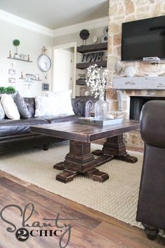 I know I say it a lot but, this is my FAVORITE project ever! When we moved into our home we had a sectional that I built a square coffee table for. Unfortunately, the sectional didn't fit in my living room so we sold it and bought two couches. I left the coffee table there…